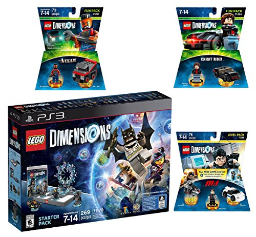 Lego Dimensions Demolition Starter Pack + Mission Impossible Level Pack + A-Team Fun Pack + Knight Rider Fun Packs for Playstation 3 or PS3 Slim Console by WB Lego
