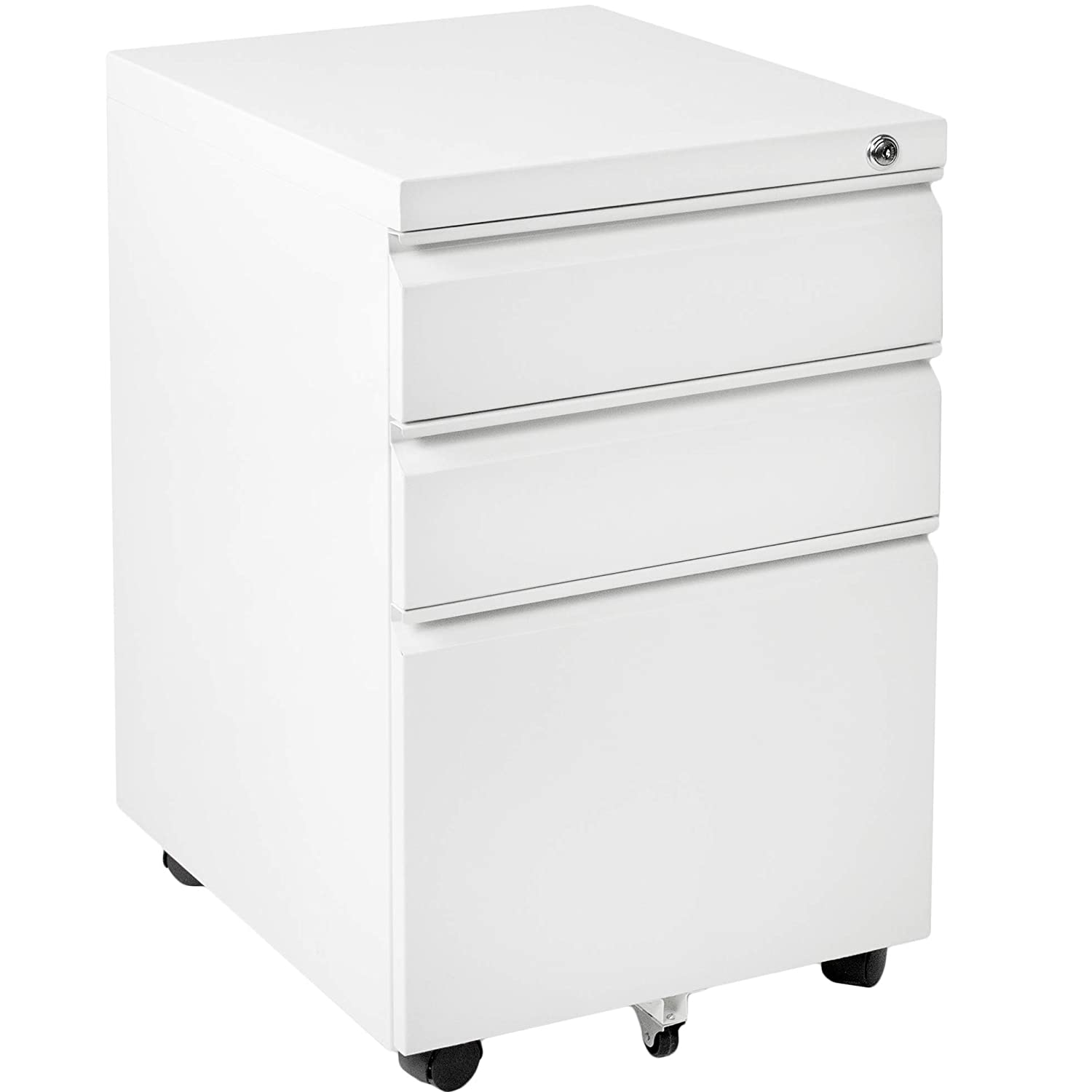 FILE-MB01W Rolling Pedestal Storage Cabinet on Wheels VIVO White Steel 3 Drawer Mobile Office File Cabinet with Lock