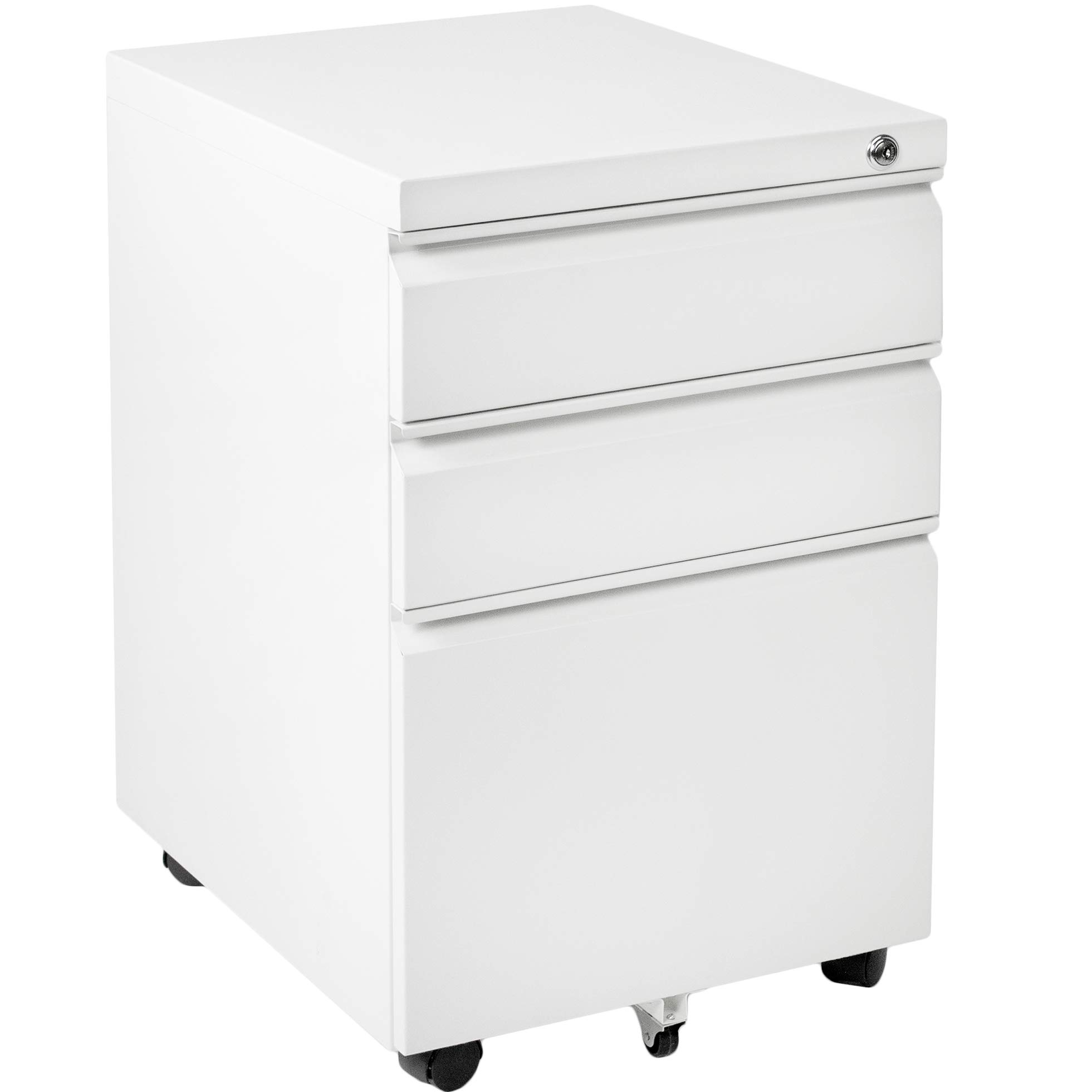 VIVO White Steel 3 Drawer Mobile Office File Cabinet with Lock | Rolling Pedestal Storage Cabinet on Wheels (FILE-MB01W)