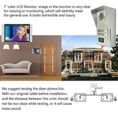 "AMOCAM Wired Video Door Phone Intercom System, 7"" Monitor, Full Aluminum Alloy Waterproof Camera, Support RFID Keyfobs Unlock, Video Doorbell Kits, for 2 Units Apartment House"