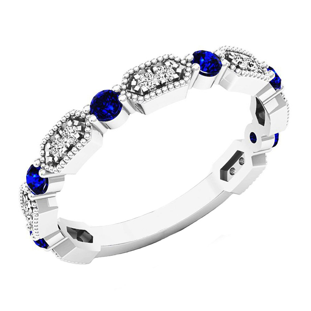 14K White Gold Round Blue Sapphire & White Diamond Ladies Vintage Style Wedding Band (Size 4.5) by DazzlingRock Collection