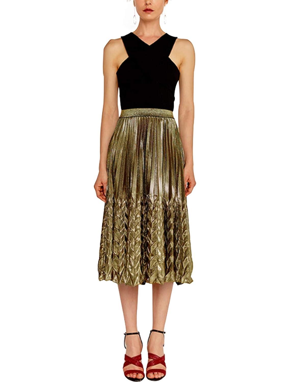 b85582b60 newrong Women's Gold Shiny Metallic Pleated Skirt High Waist at Amazon  Women's Clothing store: