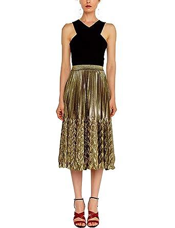 0be66c0b7 newrong Women's Gold Shiny Metallic Pleated Skirt High Waist Gold Aisa S(CA  ...