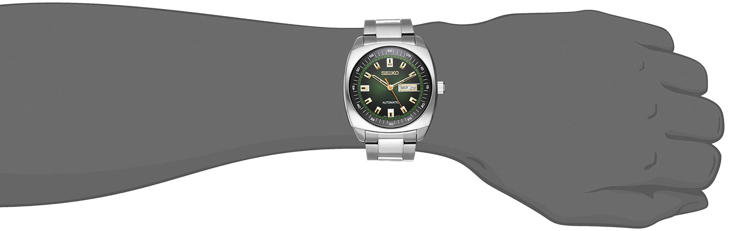 Seiko Men's SNKM97 Analog Green Dial Automatic Silver Stainless Steel Watch by SEIKO (Image #3)