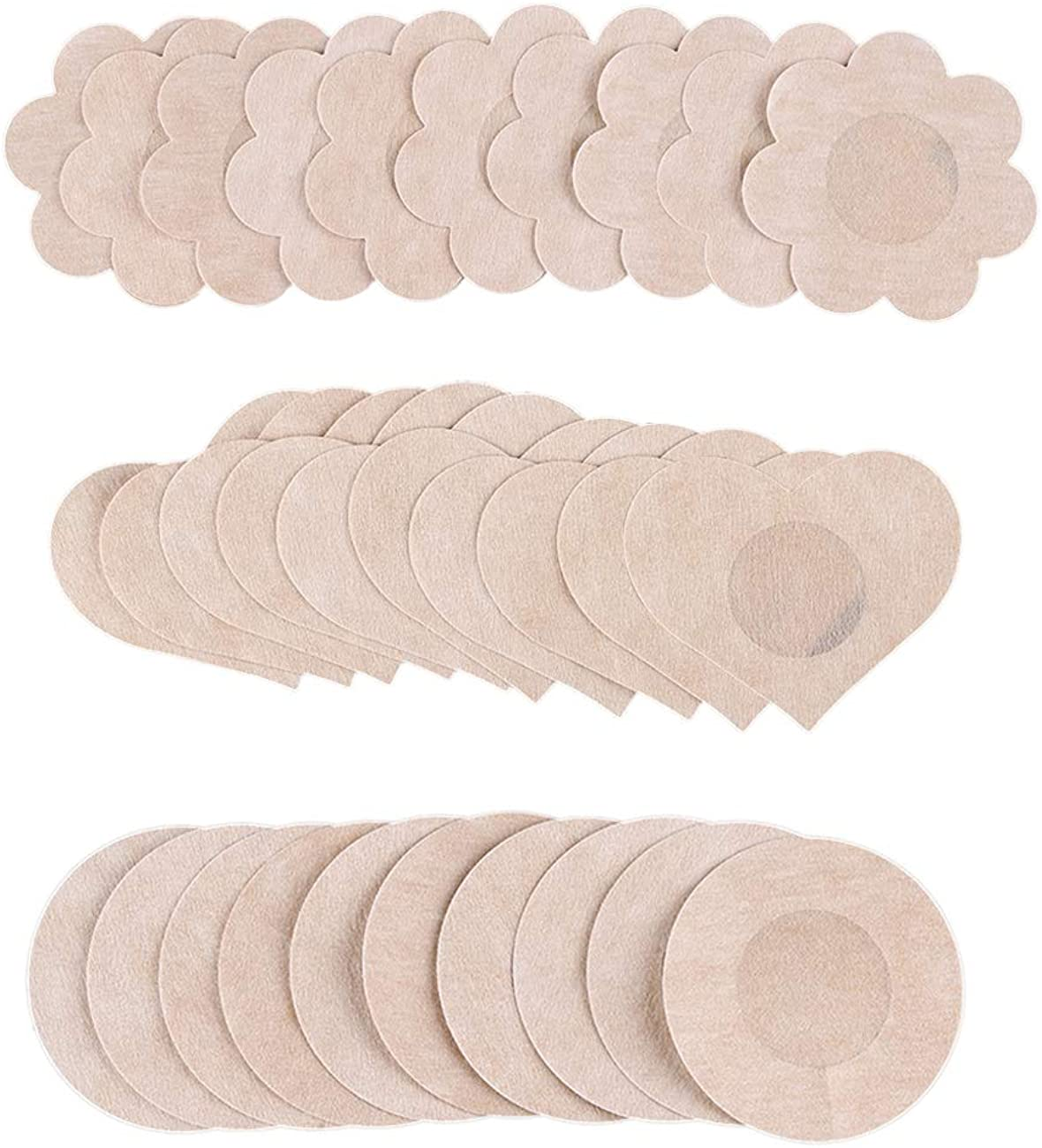 Women Non-Woven Breast Stickers Self-Adhesive Petals Pasties Invisible Nippleless Cover Zhhlaixing 15 Pairs Disposable Nipple Covers
