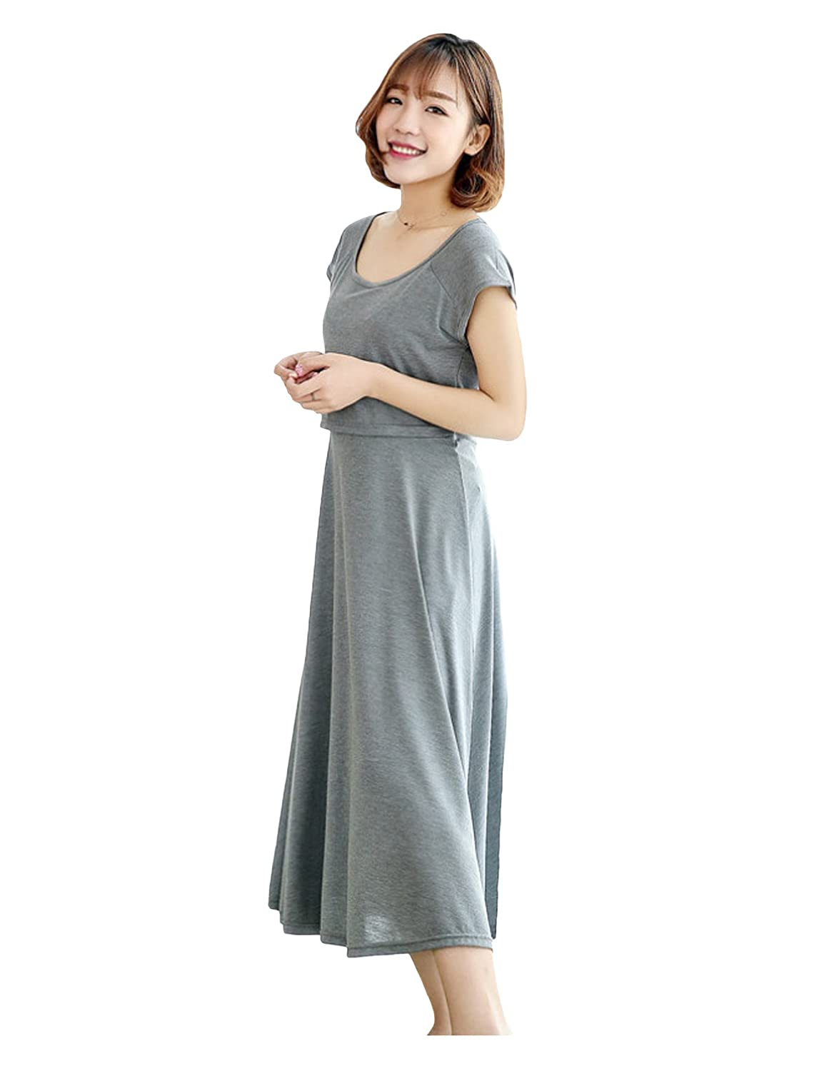 Bestgift Women's Crew Neck Layered Midi Nursing Dress BSGFDR1056