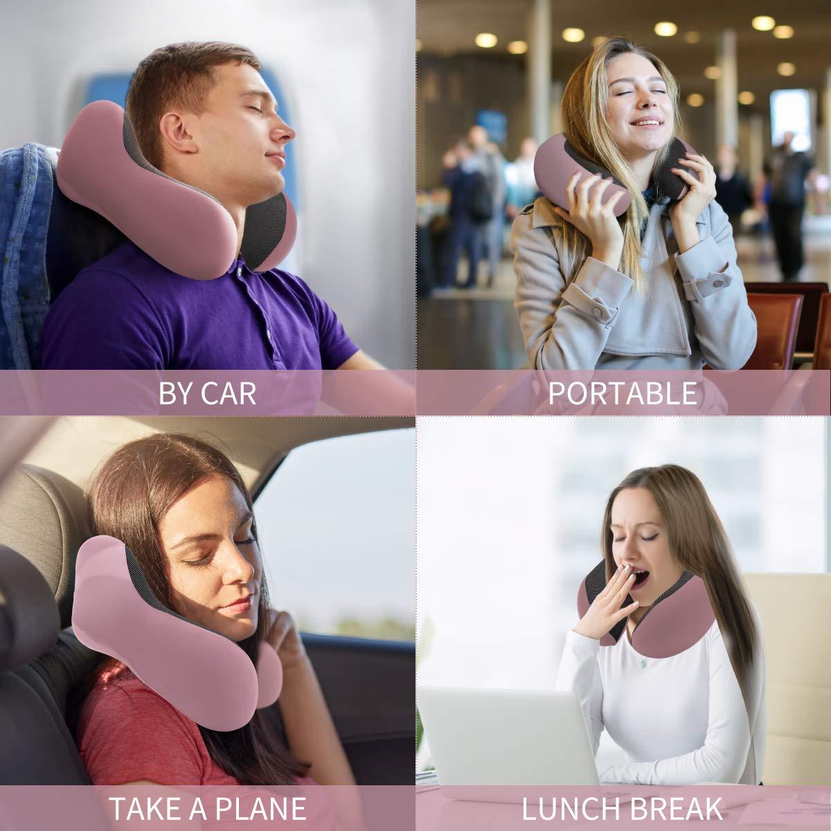Almohada de Viaje 100% Pura Memoria Espuma Cuello Almohada para Aviones, Almohada súper Suave y Cómoda con Funda Lavable a Máquina, Kit de Viaje en Avión con Máscaras de Ojos Contorneadas 3D, Tapones