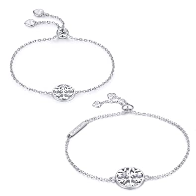 7f5848dada06 Image Unavailable. Image not available for. Color  WISHMISS 2 Pieces Family  Tree Bracelet 925 Sterling ...