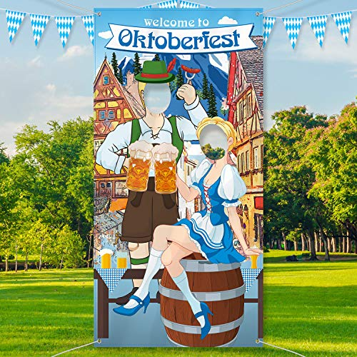 Oktoberfest Decorations Cheap (Oktoberfest Party Decorations Oktoberfest Photo Prop, Giant Fabric Photo Booth Background, Funny Oktoberfest Games Supplies for Bavarian Beer Festival, 6 x 3)