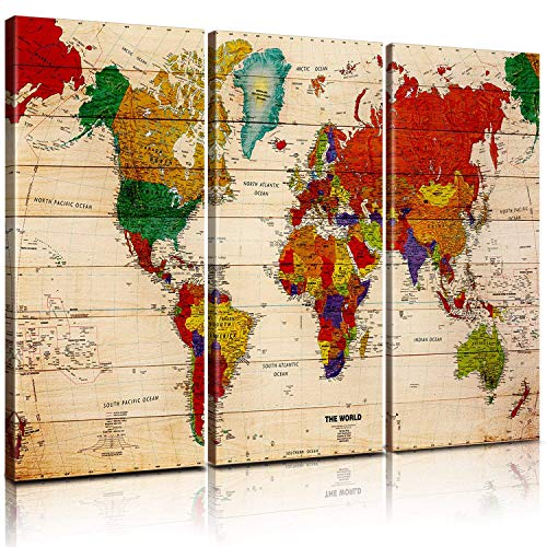 (Antique World Map Posters Home Decor Canvas Prints Wall Art Framed Modern Artwork Premium Vintage Map of The World Painting Abstract Pictures Global Earth Maps Kitchen Office 3 Panels 14 x 30 / Panel)