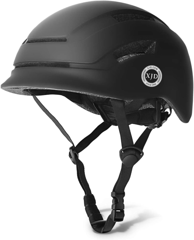 XJD Casco de Bicicleta para Adultos Protección de Bici Ciclismo USB Recargable Luz Urban Commuter Ligero Casco de Multideporte con Certificado CE Tamaño Ajustable para Hombres y Mujeres