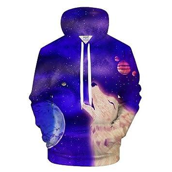 ISAAC ENGLAND Sudaderas con Capucha Azul Hombres Sudadera con Capucha de la Galaxia de la Galaxia