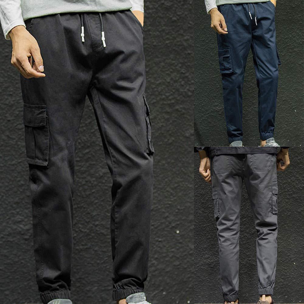 fe3dd64a262e PASATO Mens Fashion Pure Color Pocket Nine Points Small Feet Looser Casual  Pant