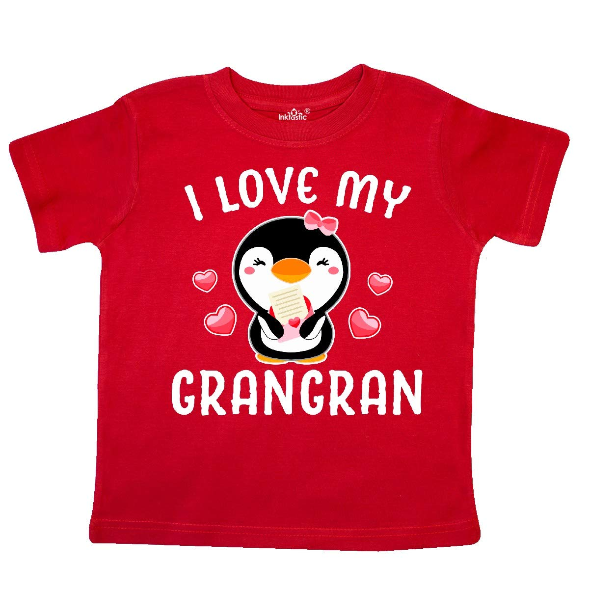 inktastic I Love My Grangran with Cute Penguin and Hearts Toddler T-Shirt
