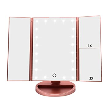 Amazoncom Weily Tri Fold Lighted Vanity Makeup Mirror With 21 Led