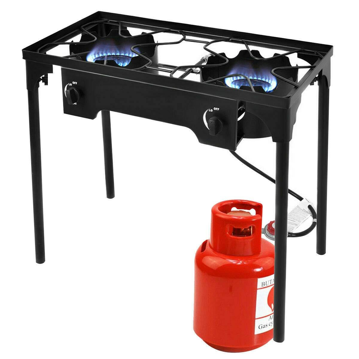 Giantex Outdoor 2 Burner Stove High Pressure Camping Picnic Burner Stand 150,000 BTU with 0-20 PSI Adjustable Regulator Portable Double Burner Stove, Black