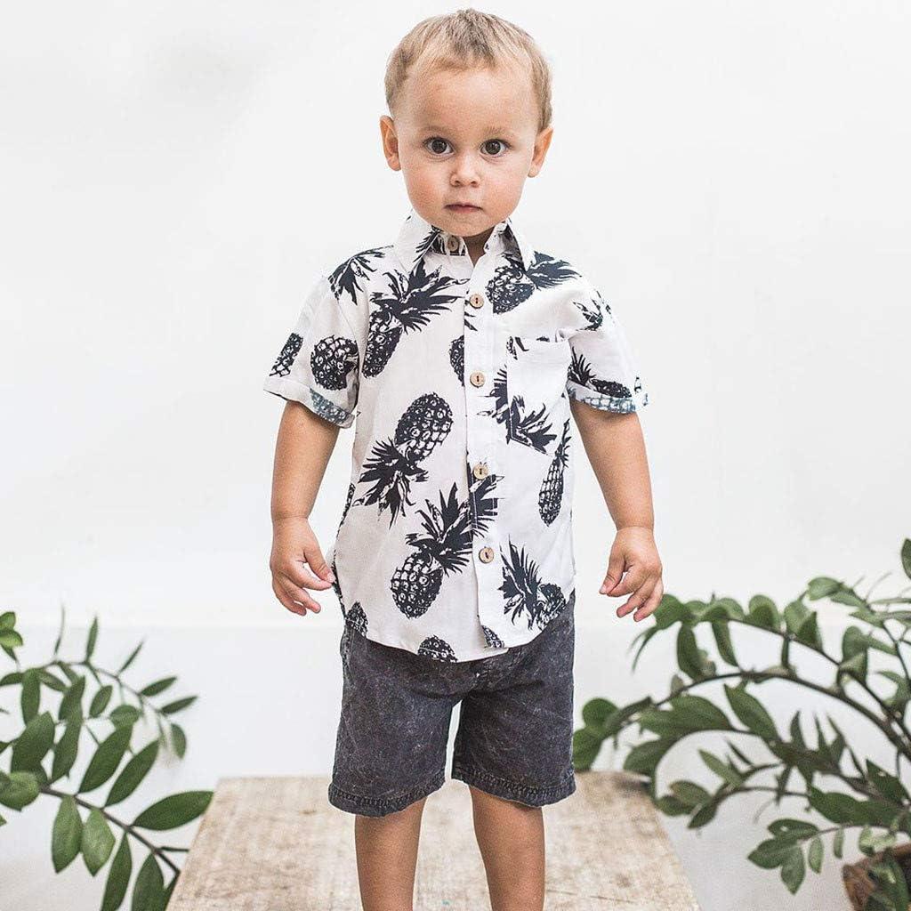 TIANRUN Little /& Big Boys Button Down Hawaiian Shirts Short Sleeve Pineapple Print Tops T-Shirt for Kids 1-6T