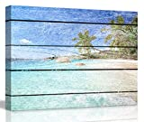 """ChezMax Wall Art on Canvas Print Artwork Pictures with Frame for Home Decor Blue Sea Beach 11.8"""" X 15.7"""""""