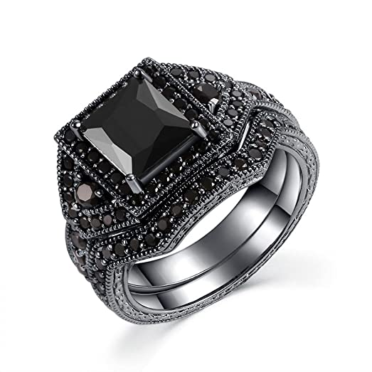 castillna black sterling silver princess cut cubic zirconia wedding engagement bridal rings set - Sapphire Wedding Ring Sets