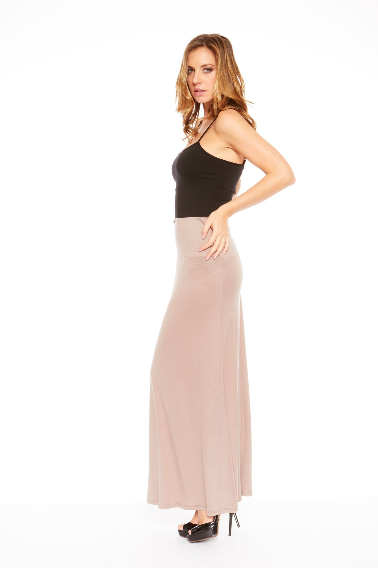 Red Hanger Women's Stylish Solid Long Maxi Skirt - Made in USA, Taupe-1X by Red Hanger (Image #2)