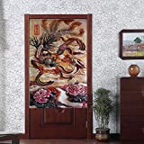 Chinese Traditional Totem Pattern Japanese Style Noren Curtain Classic Dragon and Phoenix and Blossom Peony Auspiciousness Design Door and Doorway Curtain
