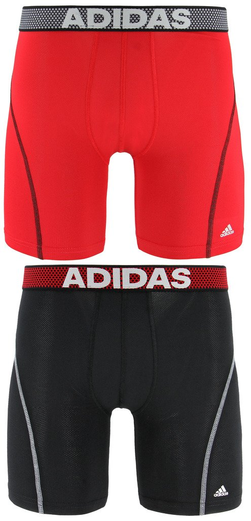 adidas Men's Sport Performance Mesh Midway Underwear (2-Pack), Black/Real Red Real Red/Black, MEDIUM by adidas