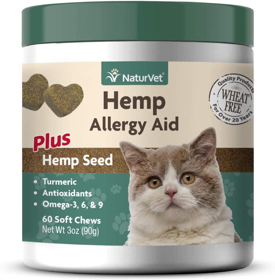 NaturVet – Hemp Allergy Aid For Cats -Plus Hemp Seed - 60 Soft Chews –Helps Maintain Proper Skin Moisture & Respiratory Health –Enhanced with Antioxidants, Omegas, DHA, EPA & Hemp Seeds –30 Day Supply