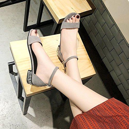 Dedos Hebilla de los Hembras Sandalias Romanos Retro Verano black Palabra Salvaje Zapatos con ITTXTTI Sra Estudiantes la Sandalias Mujeres Planas Abiertos de ZcYqf