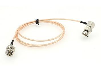 eonvic 75 Ohm BNC macho RA a BNC Plug ángulo recto Pigtail Cable Coaxial RG179 100
