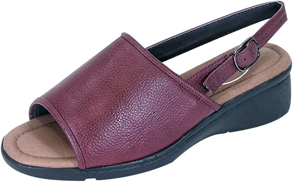 aea013bf3 24 Hour Comfort Sally Women Extra Wide Width Open-Toe Slingback Buckle Open  Back RED