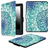 Fintie Case for Kindle E-Reader (8th Generation 2016) - The Thinnest and Lightest Slim Shell Cover with Auto Wake/Sleep for Amazon All-New Kindle (6' Display, 8th Gen 2016 Release), Emerald Illusions