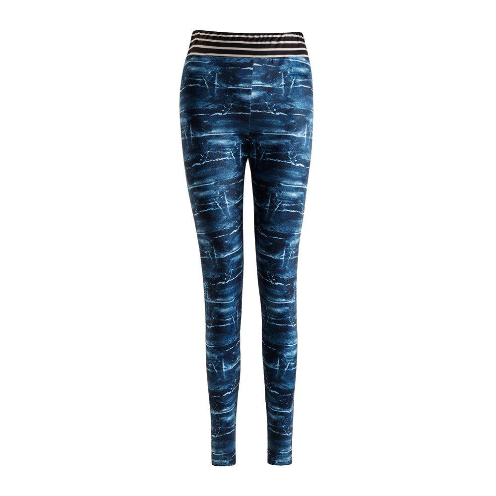 Women Sport Yoga Pants,Jchen(TM) Women Denim Print Mid Waist Leggings Casual Sports Gym Yoga Pants Pencil Pants (S, Blue)