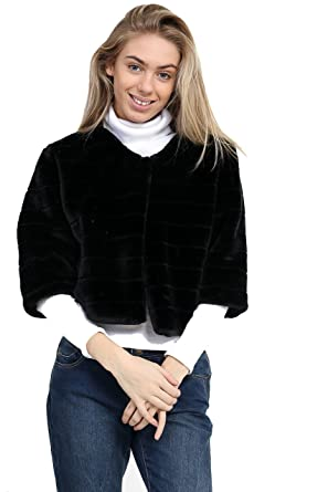 3d7f04506f 7 Fashion Road New Women Ladies Faux Fur Ribbed Cropped Jacket Coat  Occasional Christmas Party (Black, One): Amazon.co.uk: Clothing
