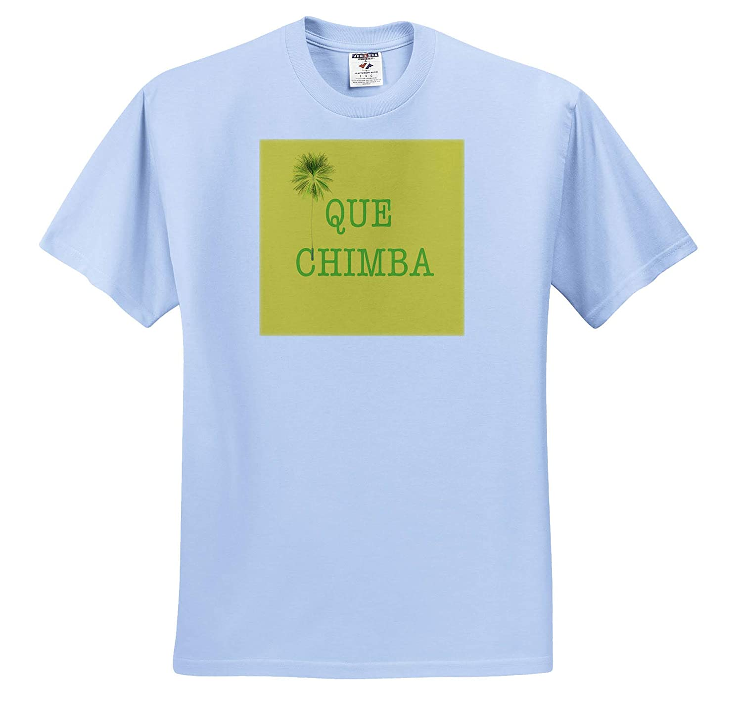T-Shirts Green Que Chimba with Palm Tree on Yellow Background 3dRose Kike Calvo Colombia Folklore and Traditions