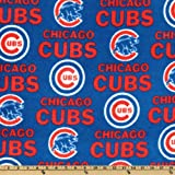 MLB Fleece Chicago Cubs Allover White/Red/Blue Fabric By The Yard