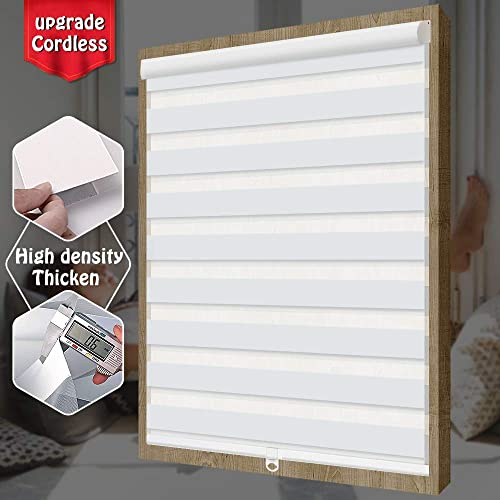 SEEYE Free-Stop Cordless Zebra Roller Shades Horizontal Window Shade Blind Zebra Dual Roller Blinds Day and Night Blinds Curtains, Easy to Install,White,66.9 W 72 L