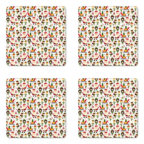 Santa Pattern Packet - Lunarable Christmas Coaster Set of Four, Santa and Helpers Pattern Cartoon Style Illustration Kids Yule Theme, Square Hardboard Gloss Coasters for Drinks, Vermilion Green Beige