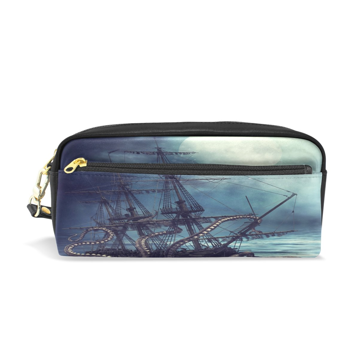 ShineSnow A Pirate Ship Pulled Into Water by Octopus Tentacle Student Pen Pencil Case, Sea Ocean Monster Animal Office Zipper Coin Storage Organizer Purse Pouch Women Cosmetic Makeup Bag by ShineSnow