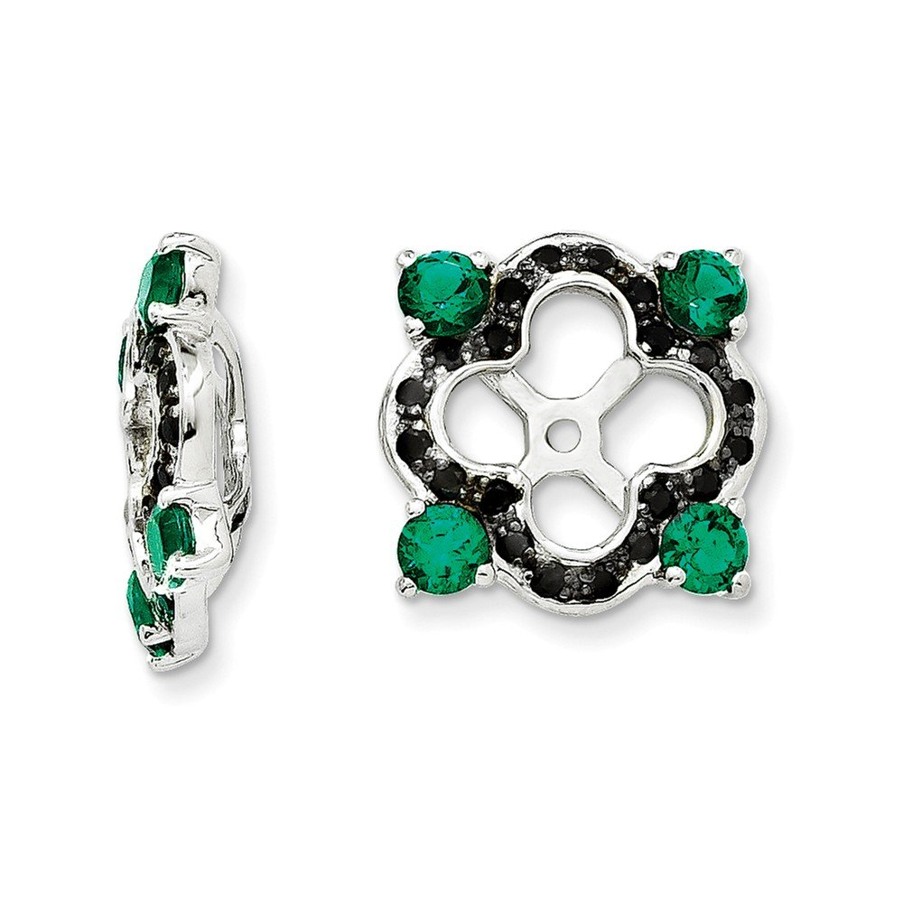 Sterling Silver Rhodium-plated Created Emerald and Black Sapphire Earrings Jacket