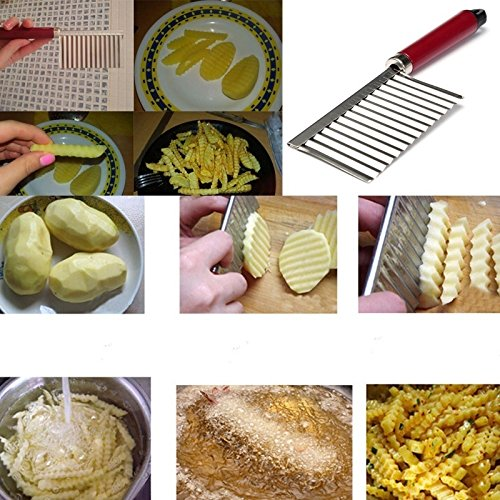 Adealink New Stainless Steel Potato Chip Dough Vegetable Crinkle Wavy Cutter Slicer Fruits Food Cutterly - Chips Crinkle