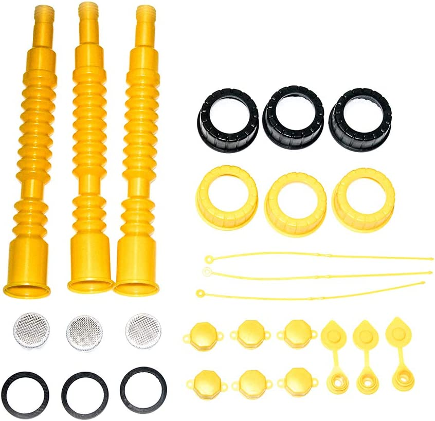 Come with Gasket, Stopper, Stripe Caps,Collar Caps Open Road Brands 3 Pack Gas Can Spout Replacement,Family Pack