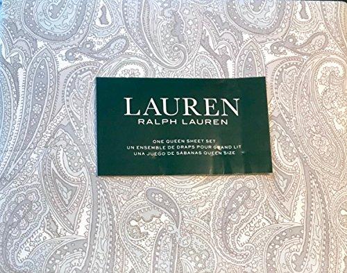 Ralph Lauren Paisley Sheet Set Queen Grey Pale Blue on White