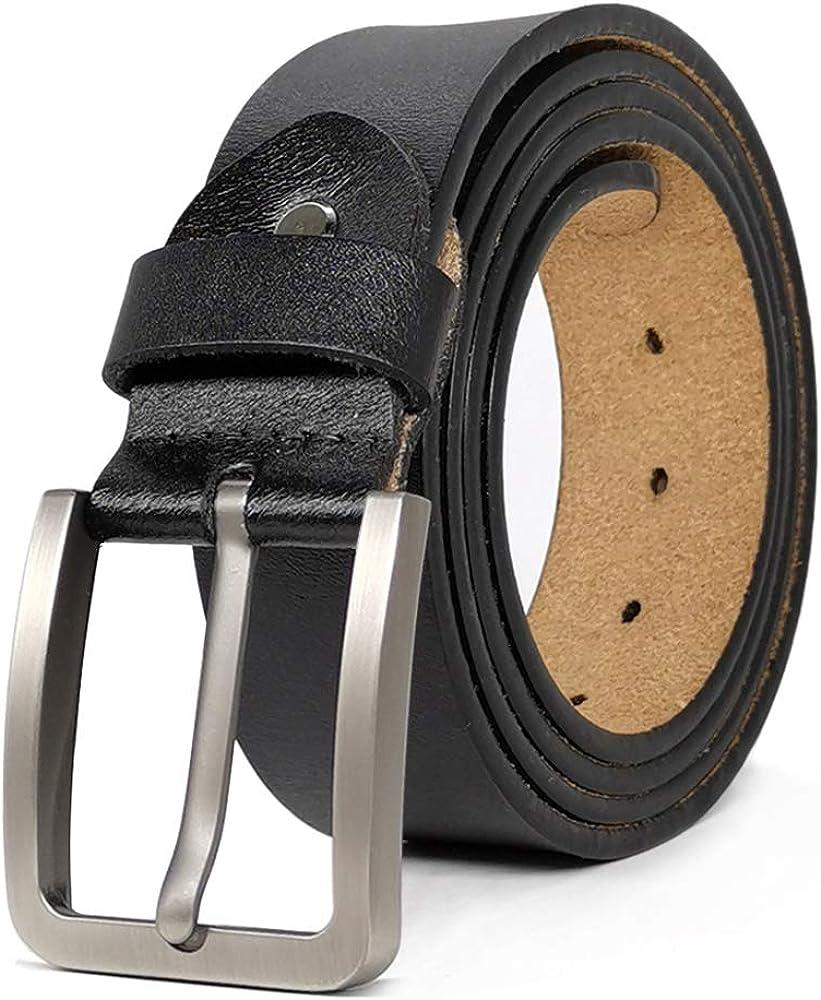 JingHao Belts for Men Genuine Leather Belt for Jeans Dress Black Brown Regular Big and Tall Size 28