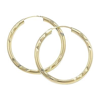 9ct Gold Diamond Cut Sleeper Earrings- 22 mm tXP59YZRS
