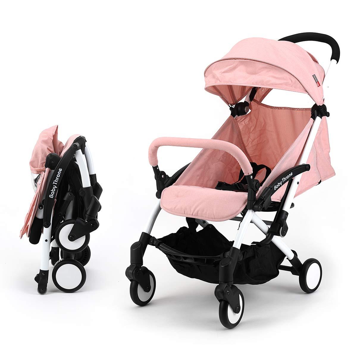 sillas de paseo ligeras carritos de bebe plegable carro bebe de viaje por 0-5 años (Rosa) Baby Throne