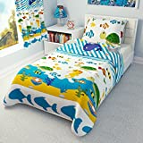 Children's Nautical Bedding - Girls Boys Duvet Cover and Pillowcase Cot/Cot bed/Toddler - SEA ANIMALS (120x150 cm)
