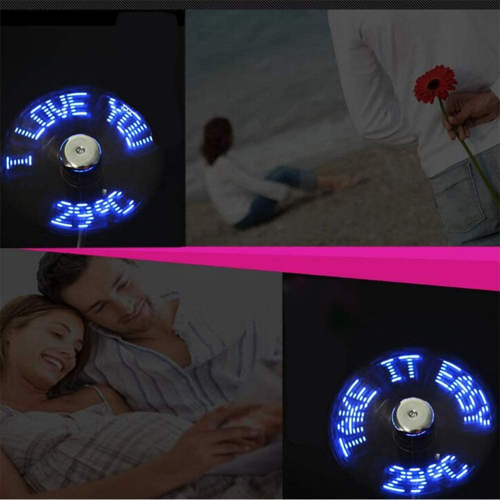 Office Mini USB Fans with LED Flashing with Programmable Words Edition for PC Notebook Desktop for Home Outdoor Travel