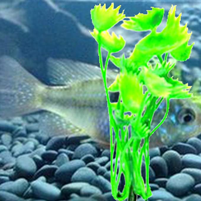 NaiCasy 10pcs Acuario Plantas de Hierba Artificial de la decoración del Acuario Decoración de plástico de Colores Agua con Base de cerámica para Fish Tank ...