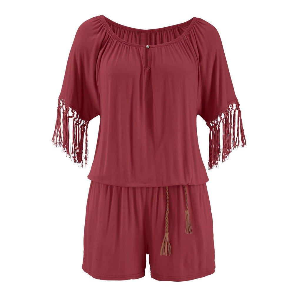 Fashion Casual Women Tassel Jumpsuits Romper Playsuit Short Pants Wine by Cardigo (Image #3)