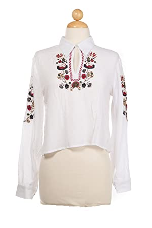 Bangbangusa Women Embroidered Long Sleeves Polo With Keyhole Neckline
